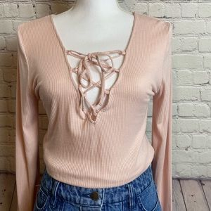 Pink Cotton On Long Sleeve Fitted Top